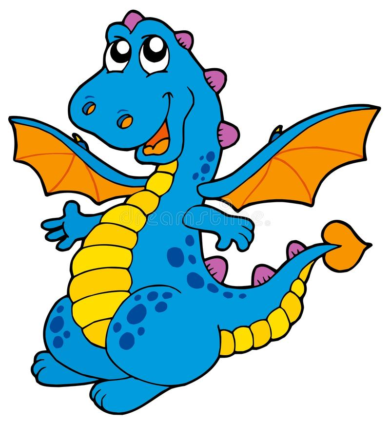 Cute blue dragon. Vector illustration
