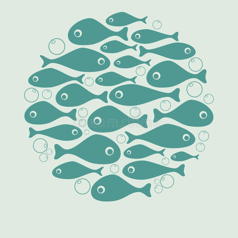 Cute blue fish circle vector design for card stock illustration