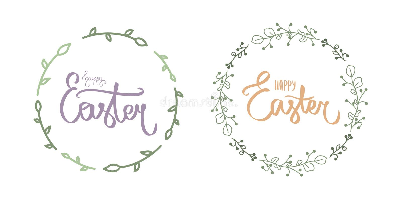 Cute blue happy easter day lettering. Calligraphy postcard or poster graphic design lettering element. Handwritten calligraphy. Cute happy easter day simple stock illustration
