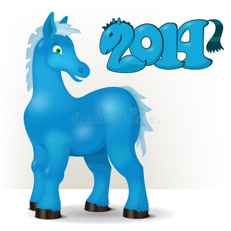 Cute blue horse wishes a happy new year 2014 stock image