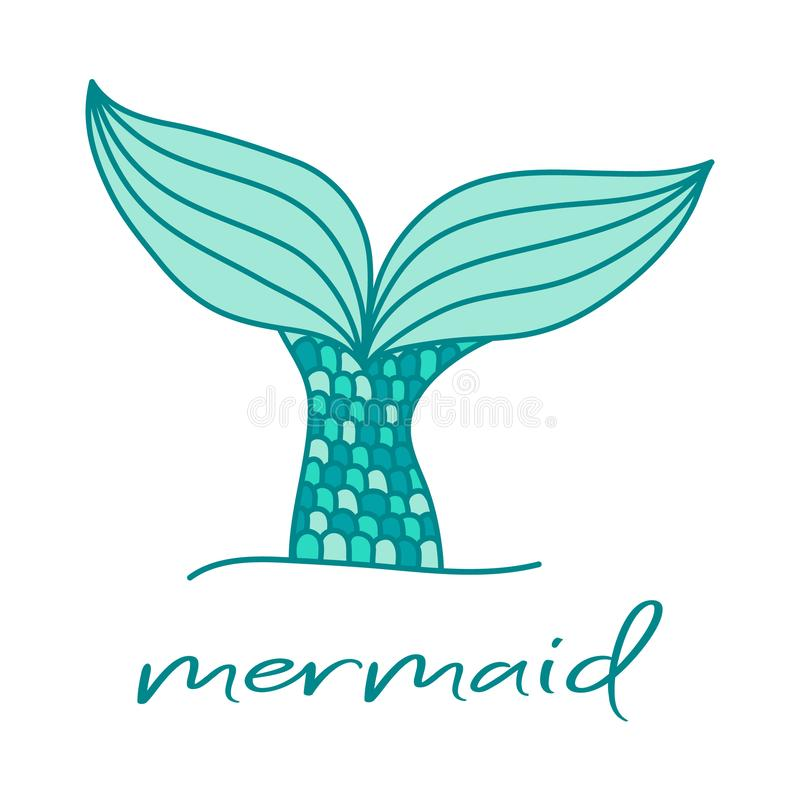 Mermaid tail. Cute hand drawn illustration vector. Writing on bottom. vector illustration