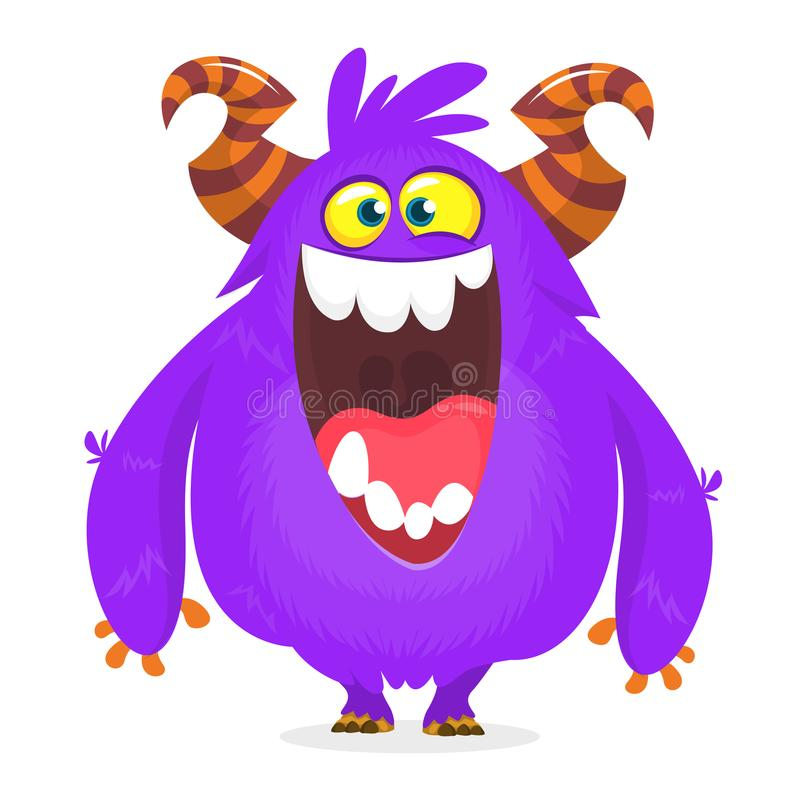 Cute blue monster cartoon with funny expression. Halloween vector illustration of fat furry troll or gremlin monster isolated. vector illustration
