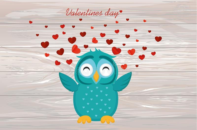 Cute Blue Owlet happy smiles and spreads wings hearts up. Greeti. Ng card for Valentine`s Day. Empty space for your text or advertisement. Vector illustration on royalty free illustration