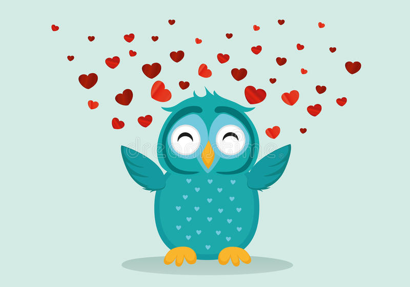 Cute Blue Owlet happy smiles and spreads wings hearts up. Greeting card for Valentine`s Day. Empty space for your text or advertisement. Vector illustration on royalty free illustration