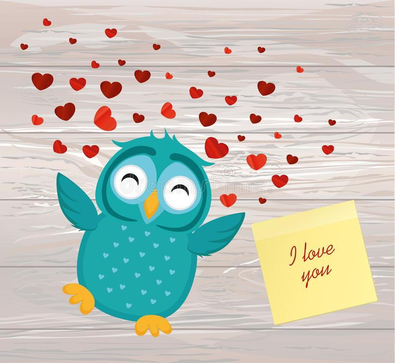 Cute Blue Owlet happy smiles and spreads wings hearts up. Yellow. Sheet of paper for notes. Sticker. Greeting card for Valentine`s Day. Vector illustration on a stock illustration