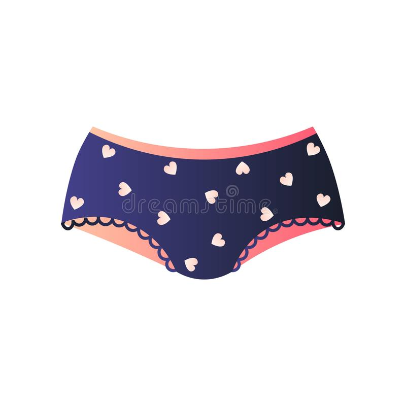 Cute blue panties in lovely design isolated on white background. Cute blue panties in lovely design. Hipsters or brazilian with plenty of small hearts. Feminine vector illustration