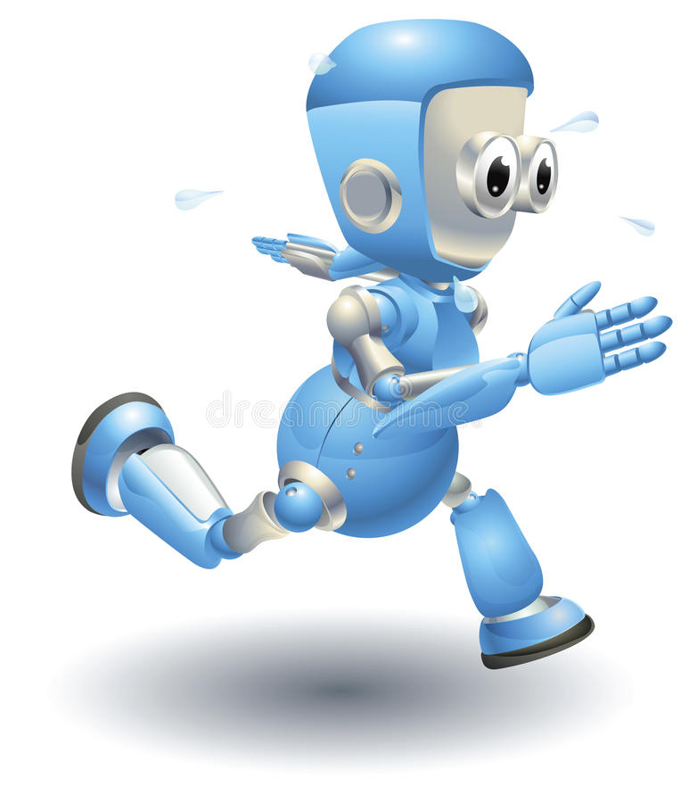 Cute blue robot character running royalty free illustration