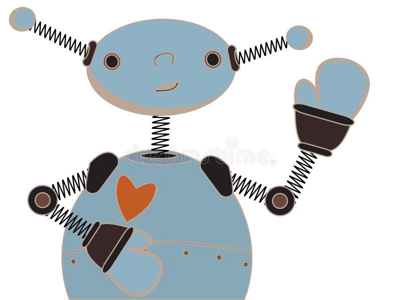 Cute blue robot waving cartoon illustration stock illustration