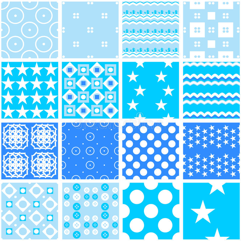 Download Cute Blue Seamless Patterns Endless Texture Stock Illustration