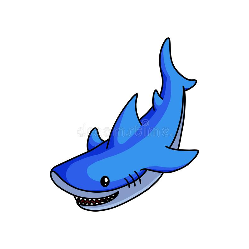 Cute blue shark swimming to find some fish food. In deep ocean. Cartoon style. Vector illustration on white background royalty free illustration