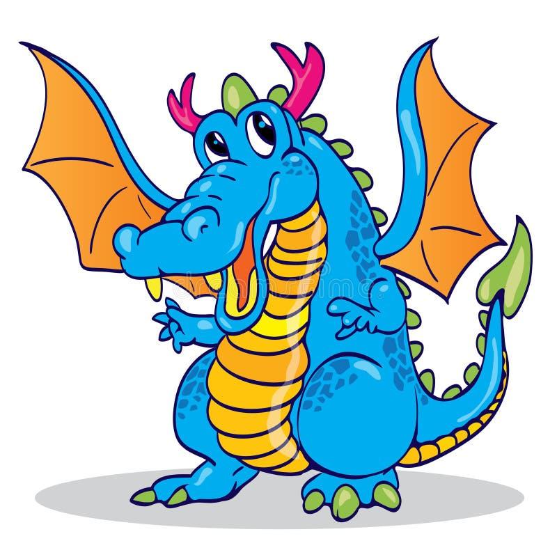 Cute blue sky dragon vector illustration