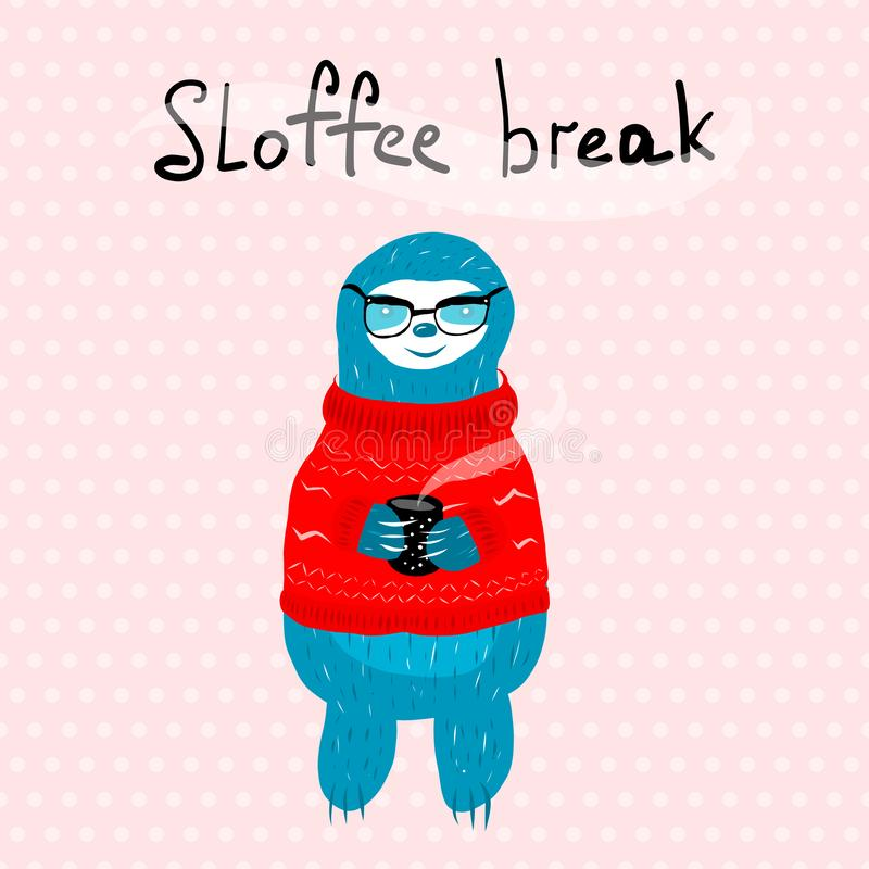A cute blue sloth in vector illustration