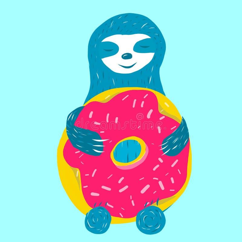 Cute blue sloth is hugging stock illustration