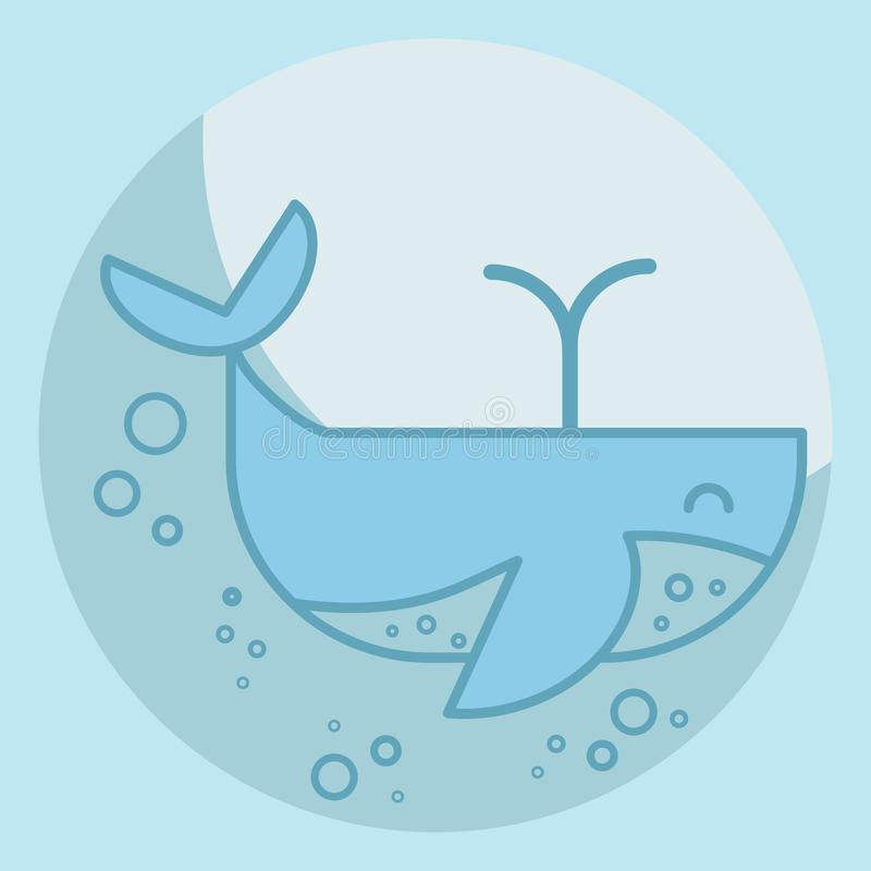 Cute blue whale in the sea with air bubbles. Cartoon whale releases a fountain of water. Big kind mammal smiling vector illustration