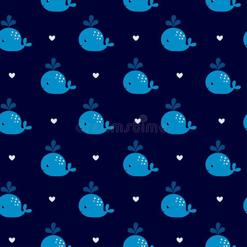 Download Cute Blue Whales On A Dark Background Stock Illustration
