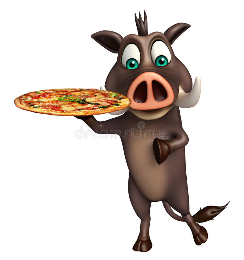 Cute Boar cartoon character with pizza royalty free illustration