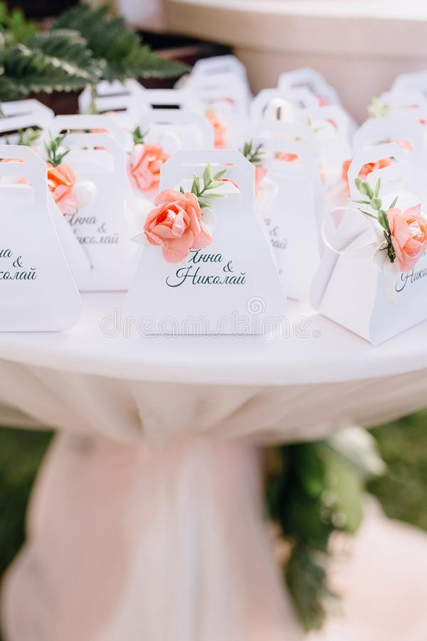 Cute bonbonniere for the wedding guests. Wedding stock photos