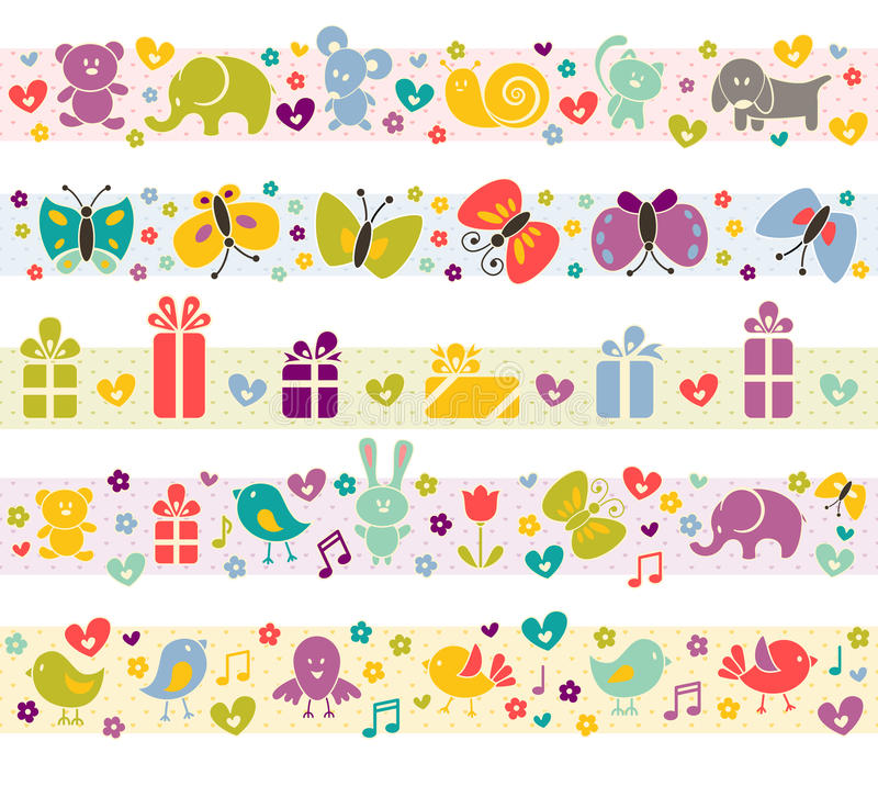 Free Cute Borders With Baby Icons. Stock Images - 26406544