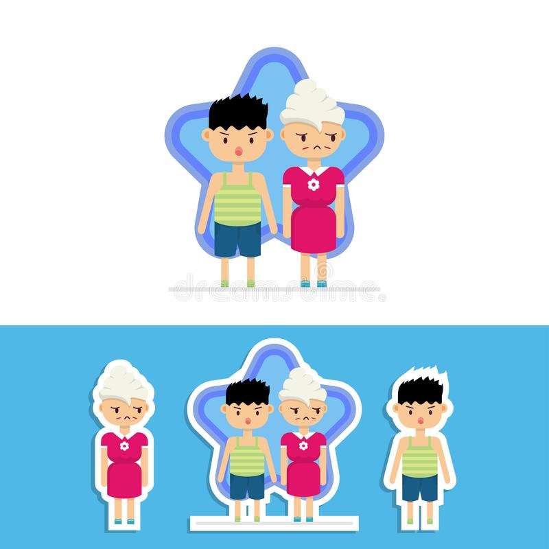 Cute Bothered Grandma and Her Naughty Grandson Vector Design. Cute bothered grandmother and her naughty grandson vector design with star background presented vector illustration