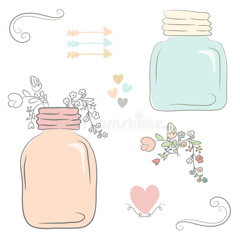 Cute bouquet of wedding flowers in a glass jar. Vector illustrat stock illustration