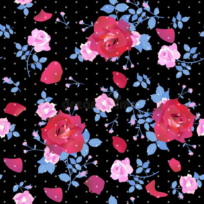 Cute bouquets of large crimson and small pink roses with blue leaves on  black background with tiny white polka dots royalty free illustration