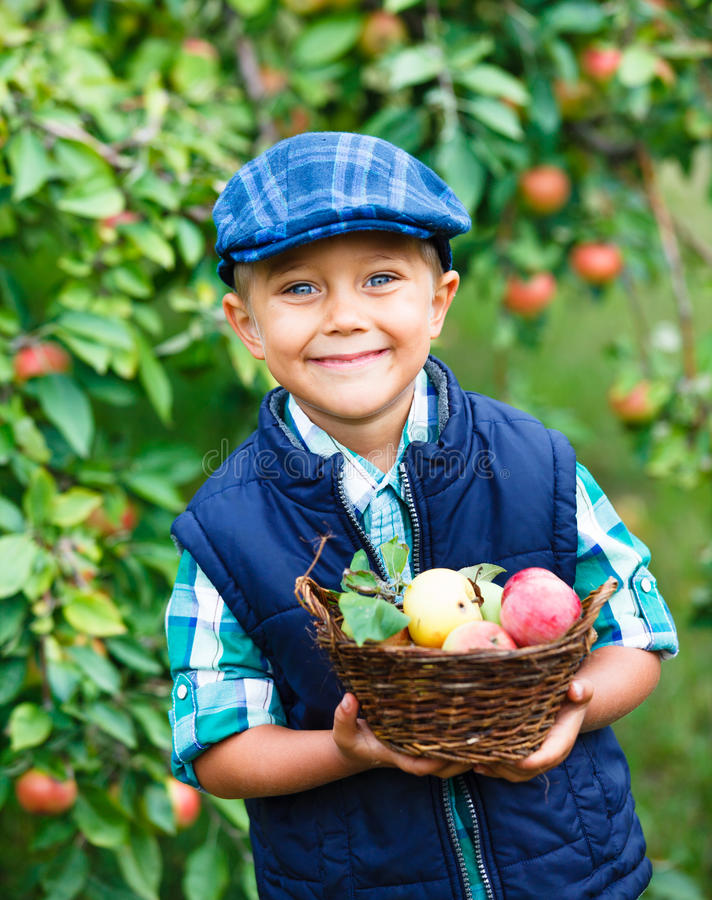Download Cute Boy In Apple Orchard Royalty Free Stock Photo - Image: 33495755