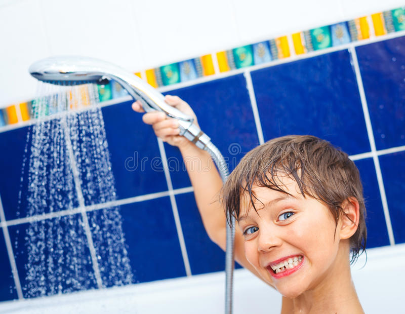 Cute boy in bathroom royalty free stock images