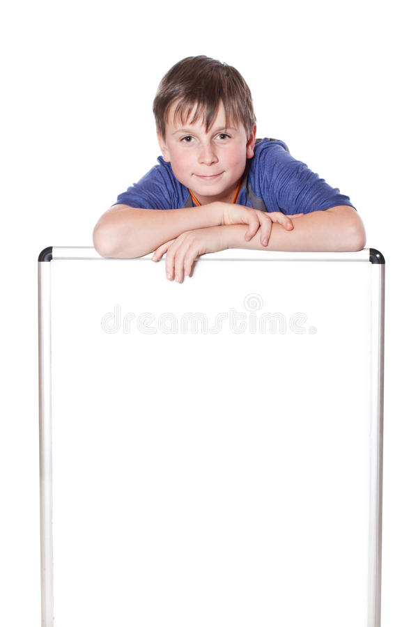 Cute boy with a blank royalty free stock photo