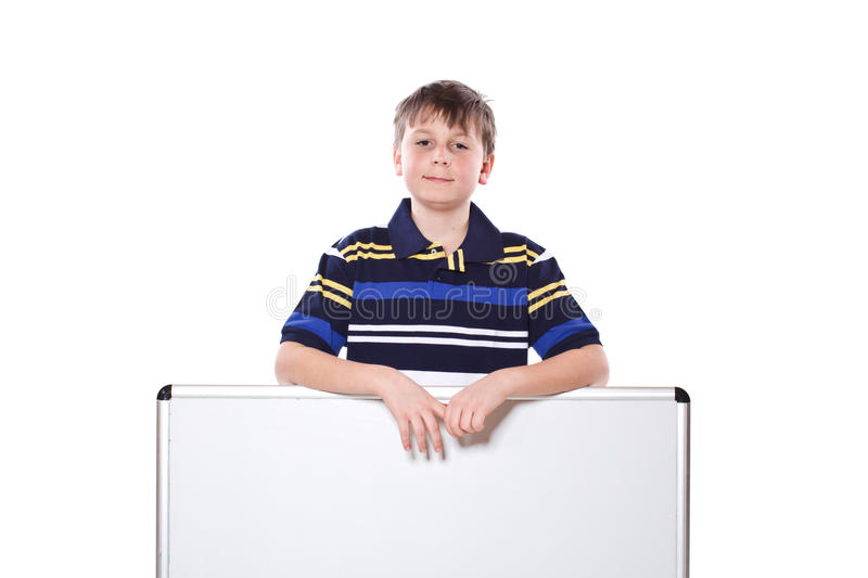 Cute boy with a blank royalty free stock images