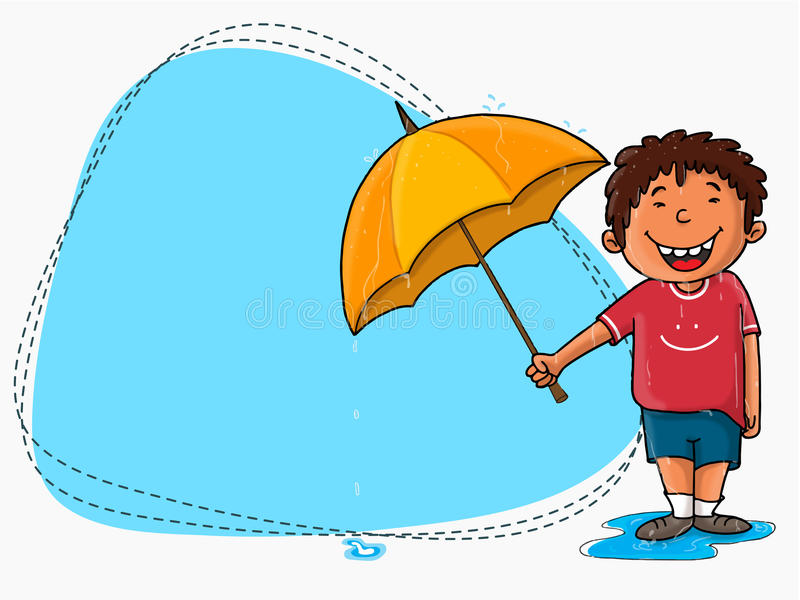 Cute Boy With Blank Frame For Rainy Day. Stock ...
