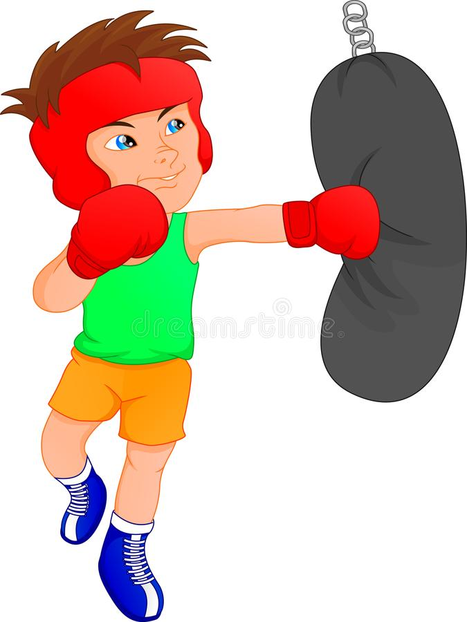 cute boy boxer stock illustration