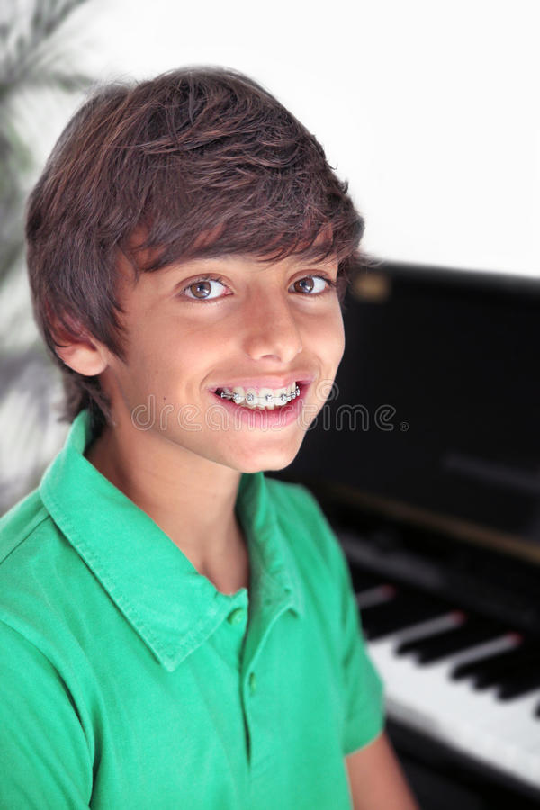 Cute Boy with Braces stock image