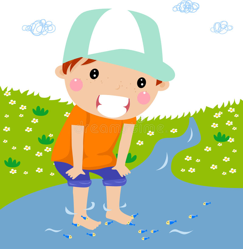 Cute boy on brook royalty free illustration