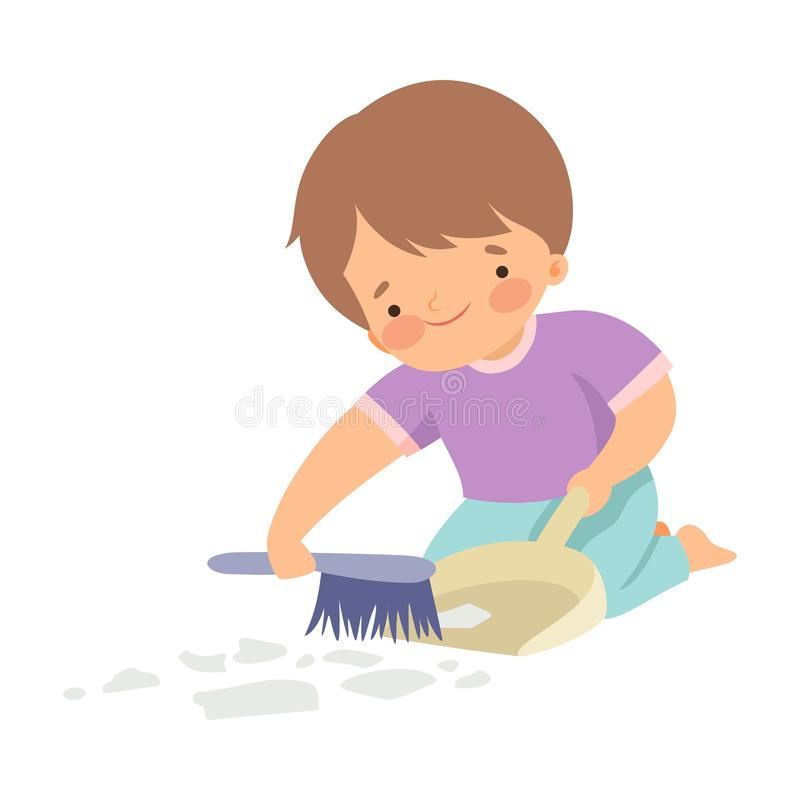 Cute Boy with Brush and Dustpan Sweeping Garbage, Adorable Kid Doing Housework Chores at Home Vector Illustration. On White Background vector illustration