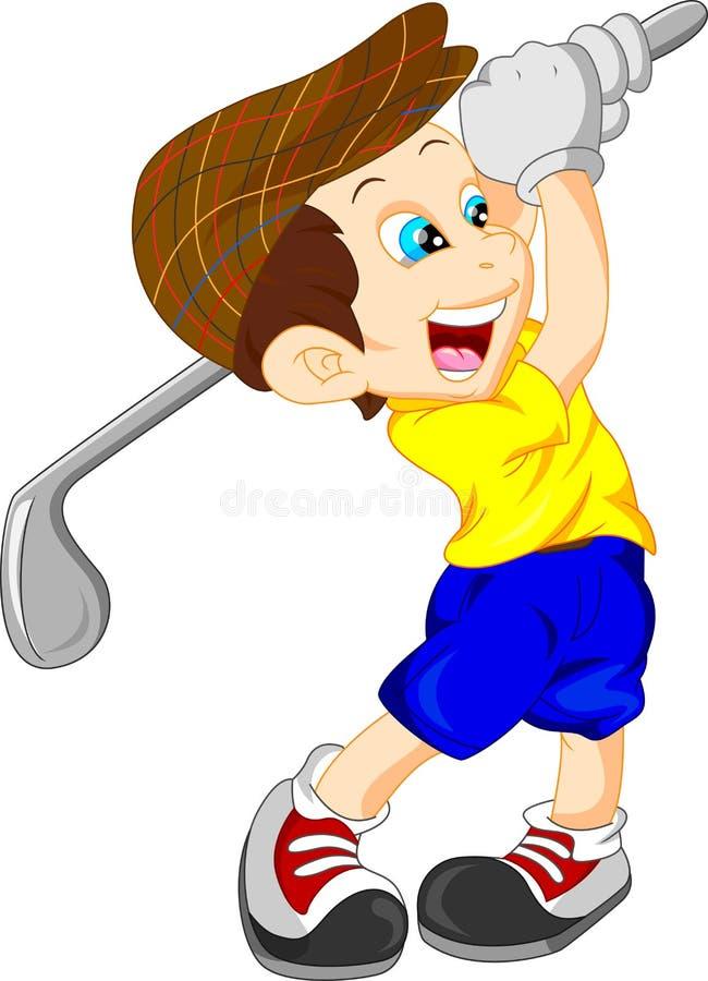 Cute boy cartoon golf player vector illustration