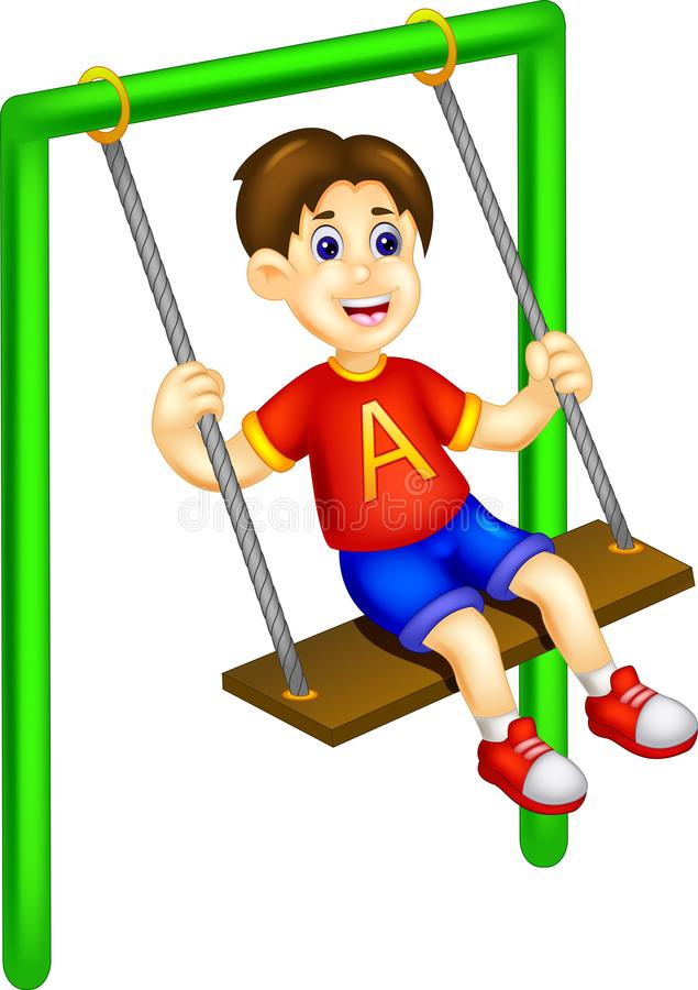 Cute boy cartoon play swing with laughing. Vector illustration of cute boy cartoon play swing with laughing vector illustration