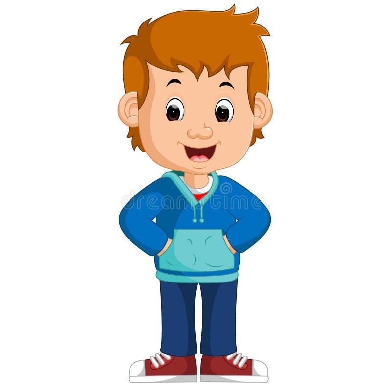 Cute boy cartoon posing royalty free illustration