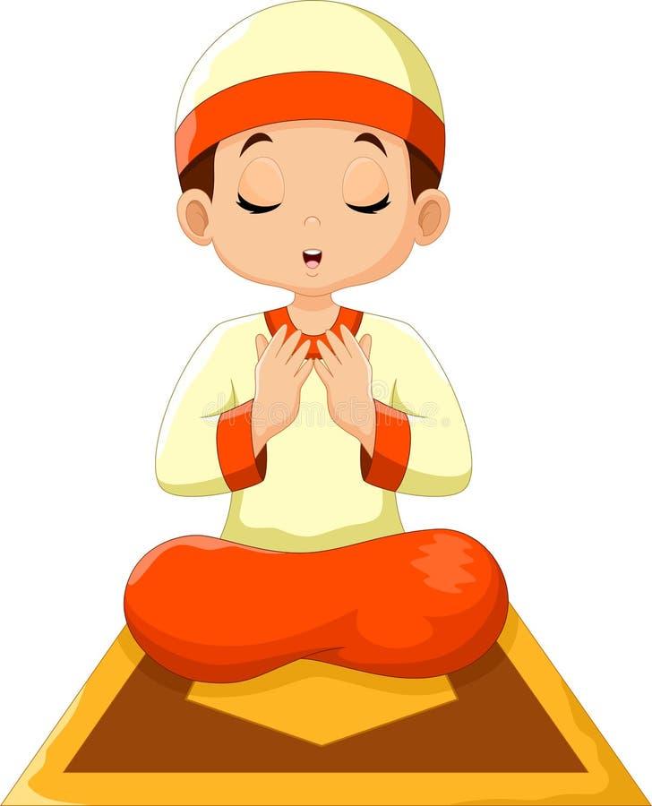 Cute boy cartoon praying vector illustration