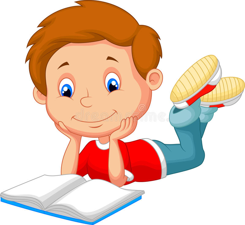 Cute boy cartoon reading book royalty free illustration