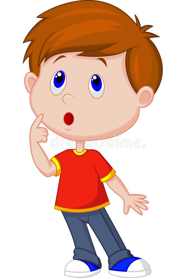 Cute boy cartoon thinking vector illustration