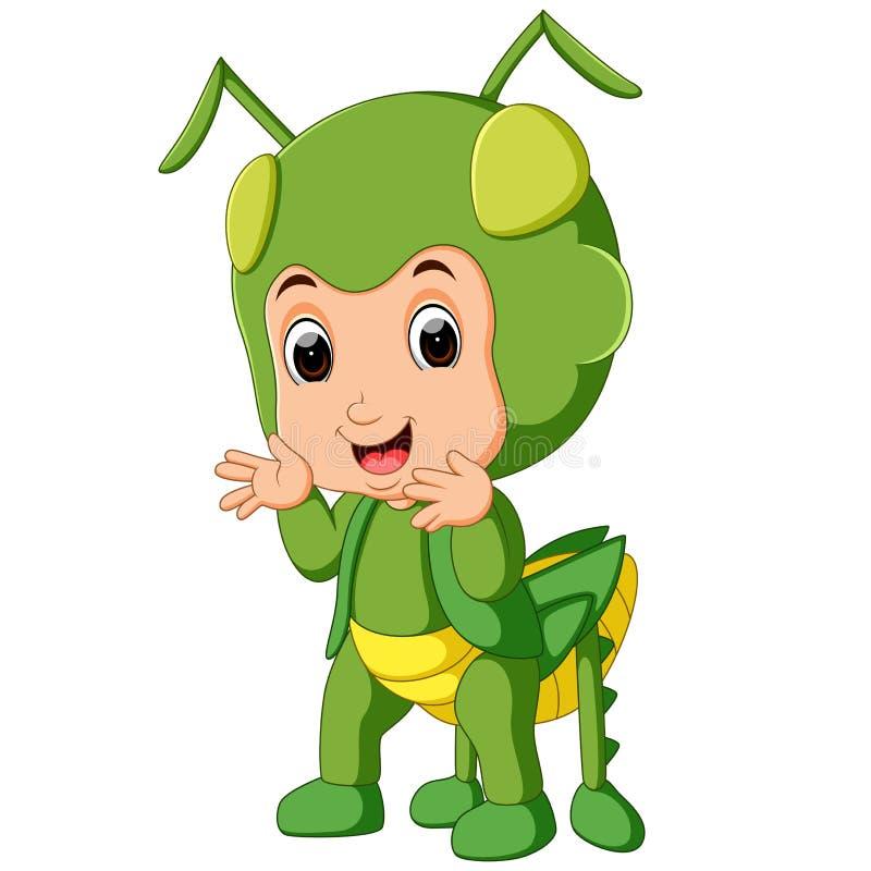 Cute boy cartoon wearing grasshopper costume. Illustration of Cute boy cartoon wearing grasshopper costume stock illustration