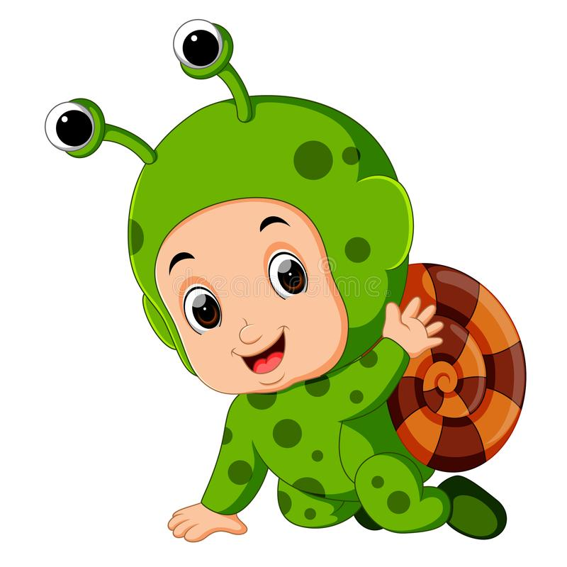 Free Cute Boy Cartoon Wearing Snail Costume Royalty Free Stock Image - 111234386