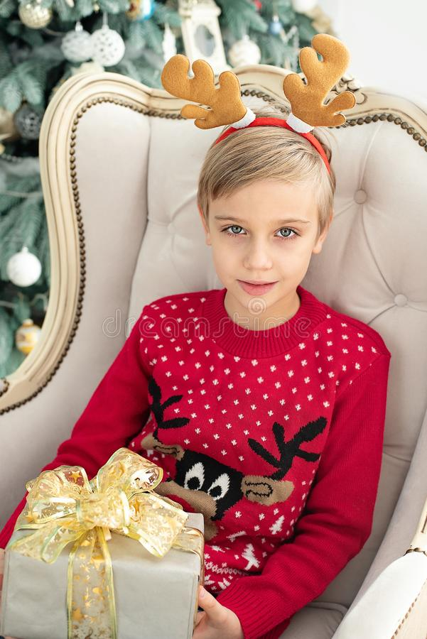 The little girl under the Christmas tree royalty free stock photos