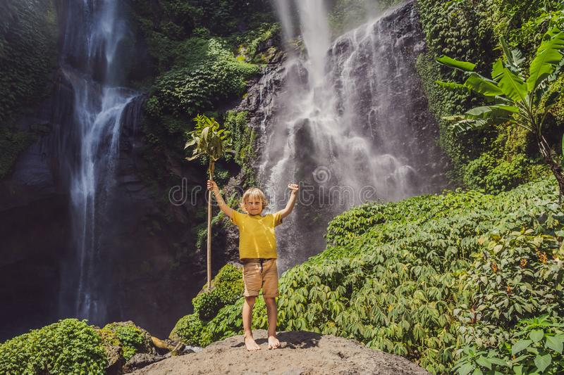 Cute boy depicts the king of the jungle against the backdrop of a waterfall. Childhood without gadgets concept. Traveling with children concept. Childhood stock image