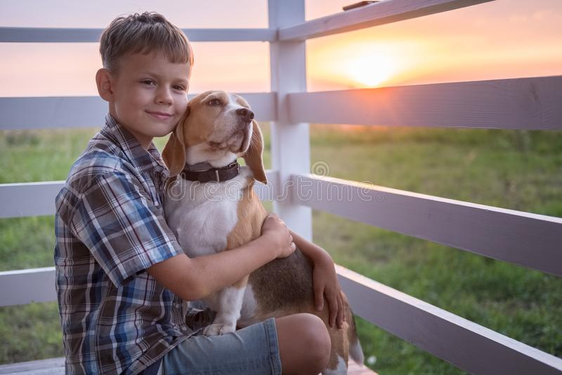 Cute boy and dog Beagle sitting hugging on the veranda royalty free stock photography