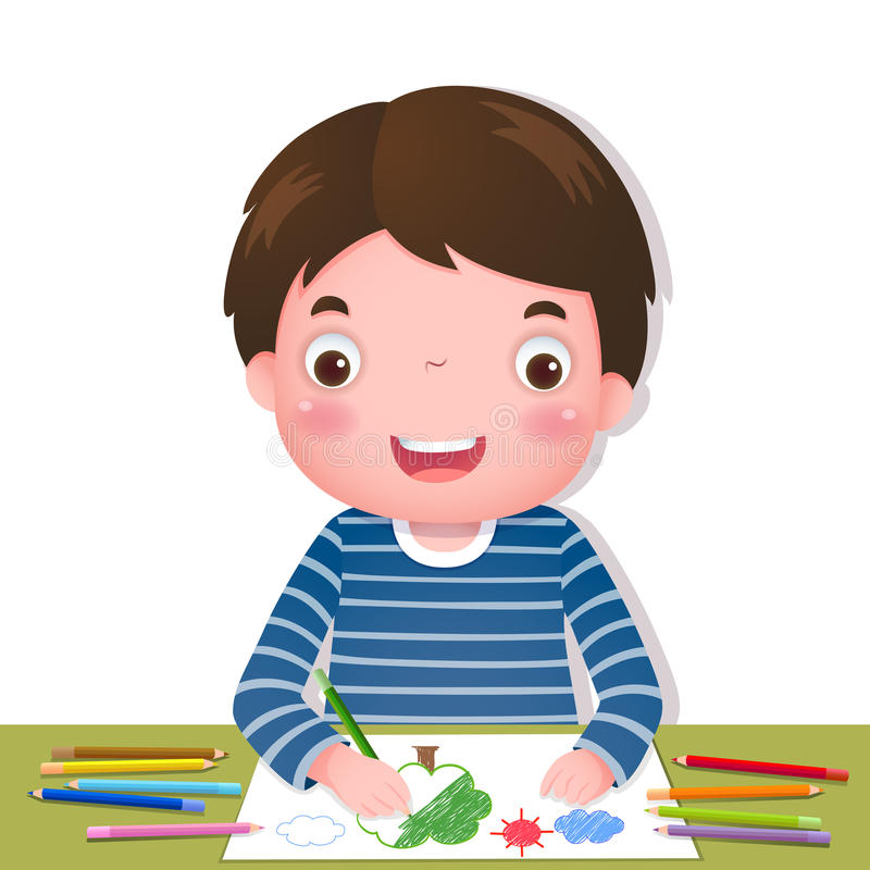 Free Cute Boy Drawing With Colourful Pencils Stock Photography - 56906022