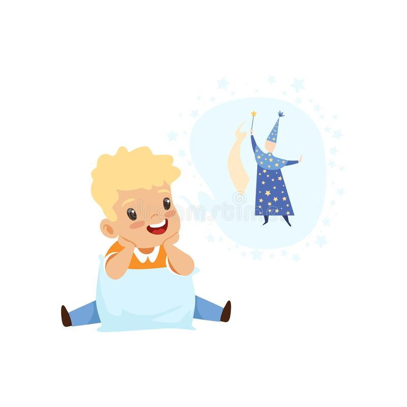 Cute boy dreaming of becoming a wizard, kids imagination and fantasy concept, vector Illustration on a white background. Cute boy dreaming of becoming a wizard royalty free illustration