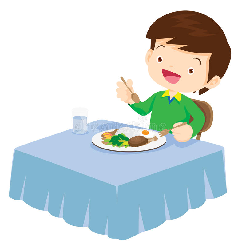 Cute Boy eating so happy and delicious. Illustration of a cute boy eating on a white background stock illustration