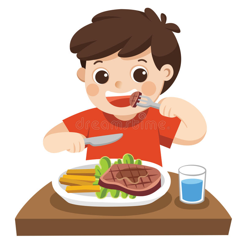 A cute boy is eating steak with vegetables. royalty free illustration