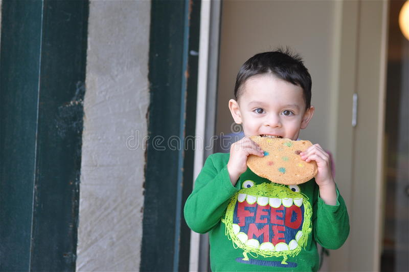 Download Cute Boy Enjoying a Cookie stock image. Image of eating - 18655605